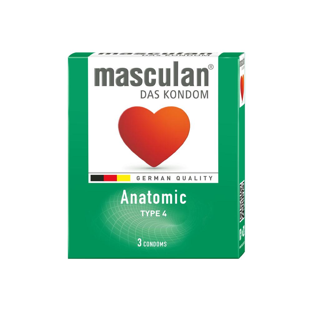 Bao cao su Masculan Anatomic (Xanh) hộp 3 cái