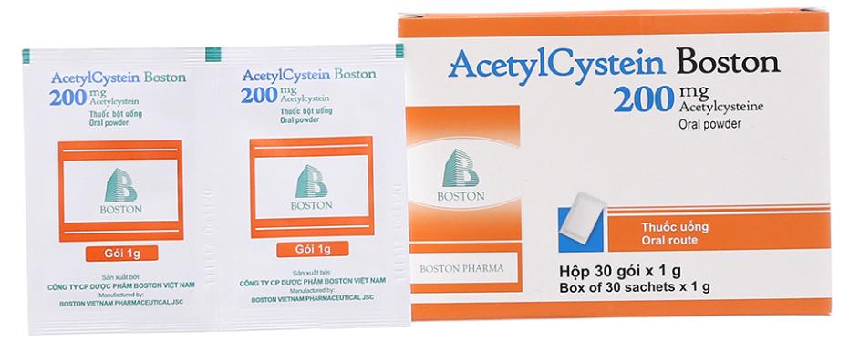 Thuốc bột điều trị ho, long đờm AcetylCystein Boston 200 hộp 30 gói x 1 g