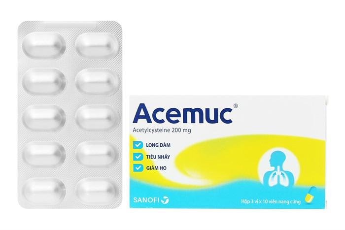 Thuốc long đờm, tiêu chất nhầy Acemuc 200 hộp 30 viên