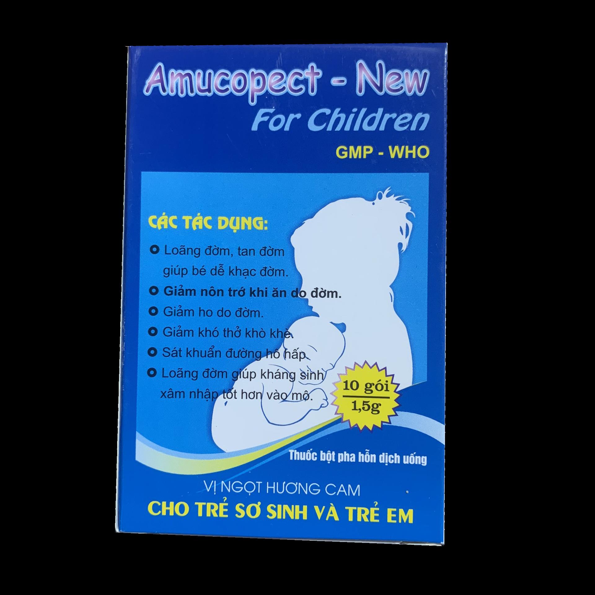 Bột pha hỗn dịch uống trị ho, long đờm Amucopect - New hộp 10 gói