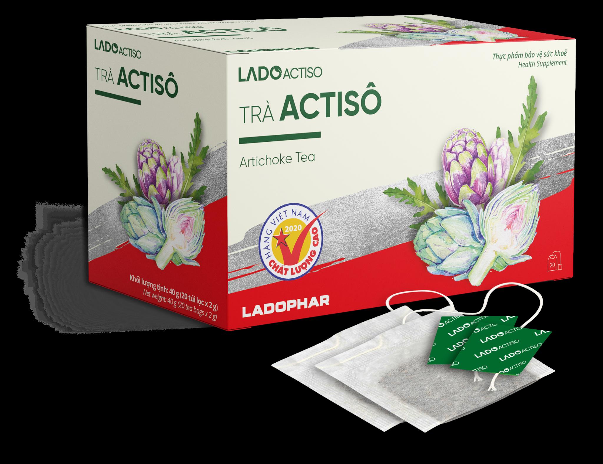 Trà Actiso (LADOPHAR) hộp 20 gói x 2g