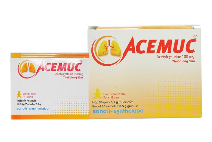 Thuốc long đờm Acemuc 100mg hộp 30 gói mỗi gói 0.5g