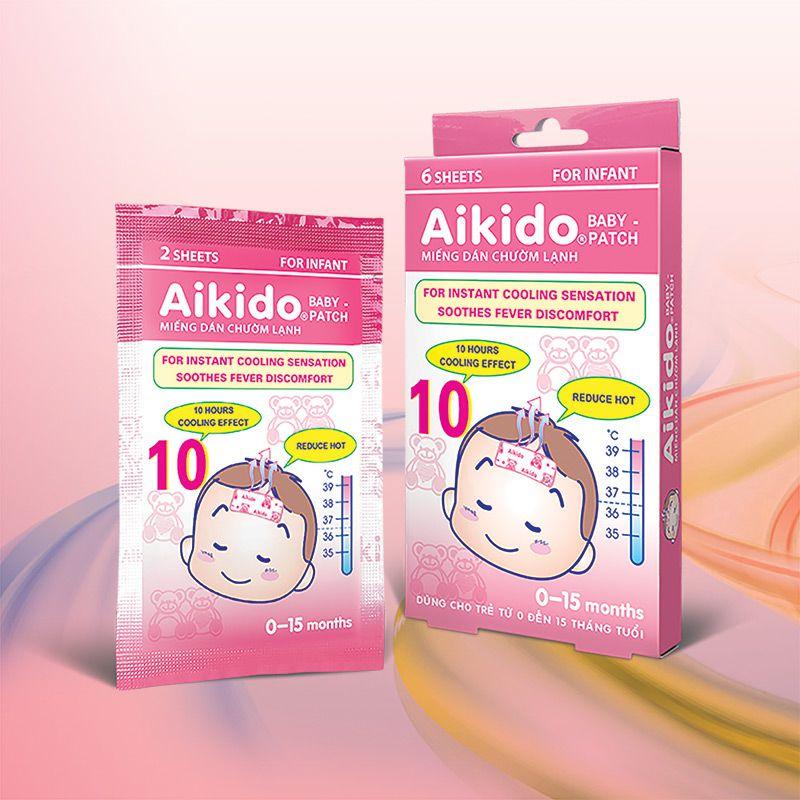 Miếng dán hạ sốt cho bé từ 0 - 15 tháng Aikido Baby gói 2 miếng dán