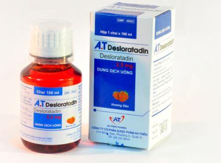Siro điều trị dị ứng hương dâu A.T Desloratadin hộp 1 chai 100ml