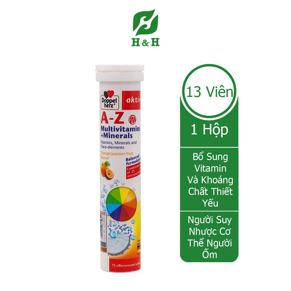 Viên sủi cung cấp vitamin và khoáng chất  Doppel herz A-Z Multivitamins + Minerals tuýp 13 viên