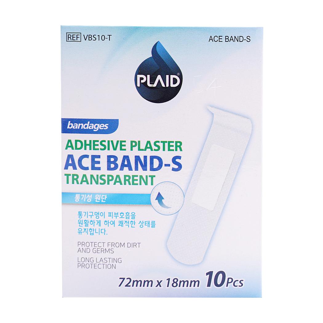 Băng cá nhân trong suốt Ace Band-S hộp 10 miếng (72mm x 18mm)