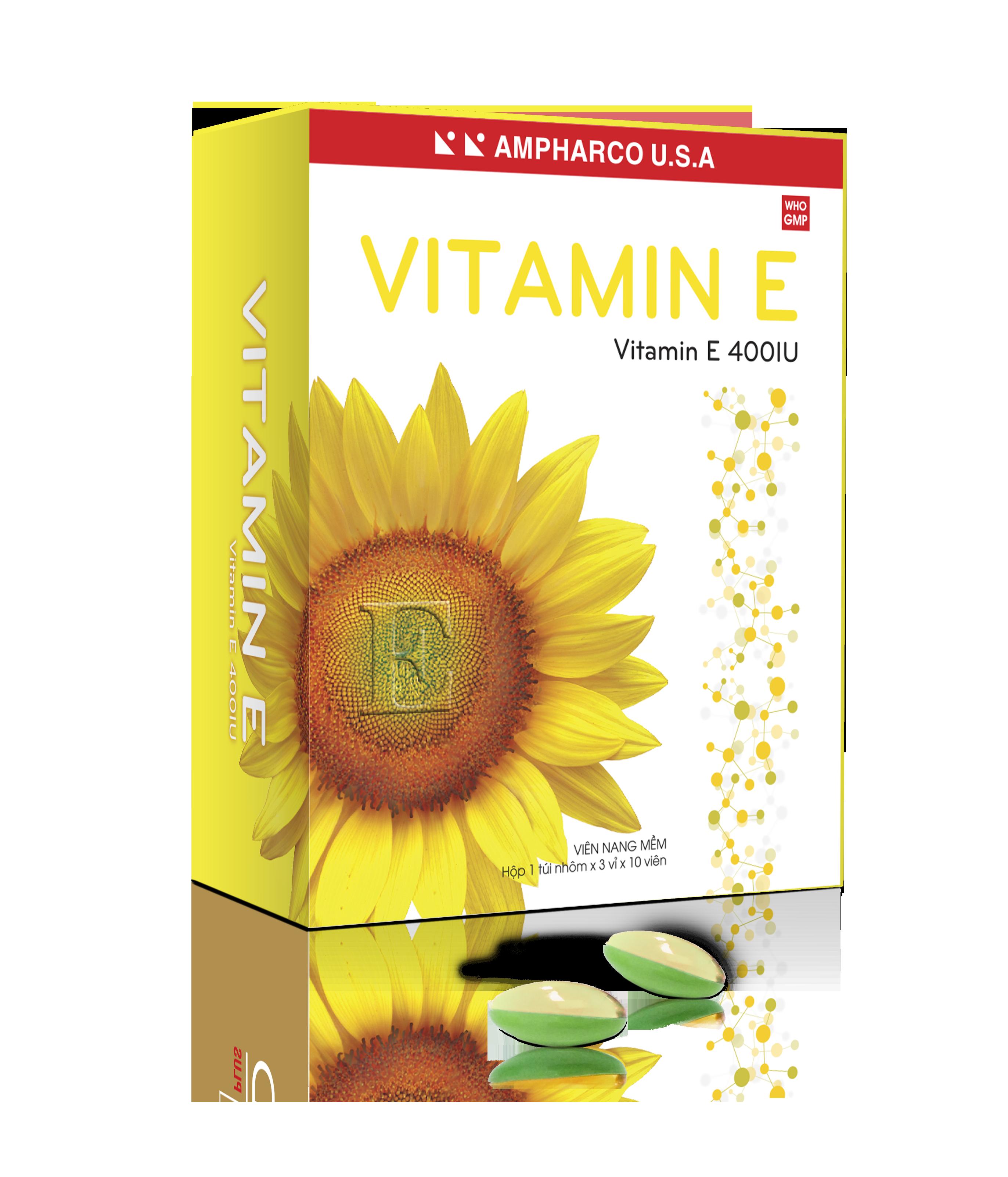 Thuốc bổ Vitamin E 400IU (AMPHARCO U.S.A) hộp 3 vỉ x 10 viên
