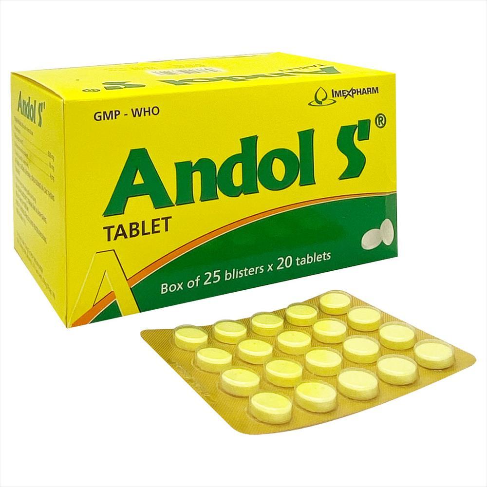 Thuốc điều trị cảm sốt, nhức đầu Andol S hộp 500 viên