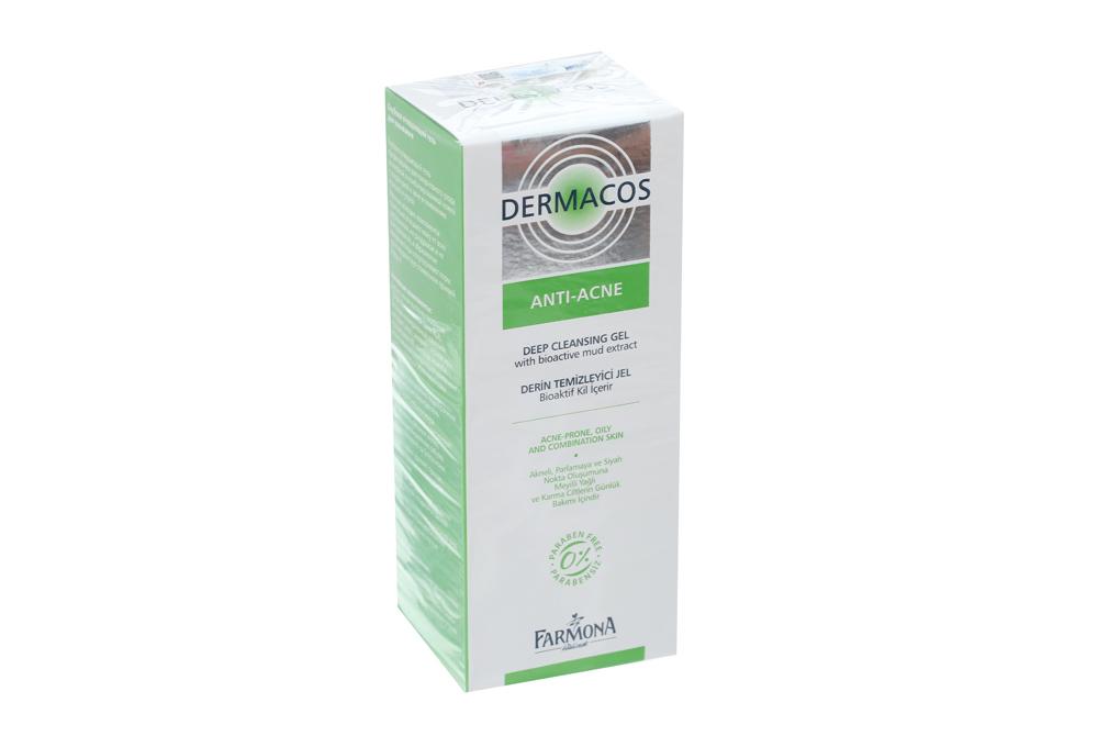 Sữa rửa mặt sạch sâu, ngừa mụn Dermacos Anti - Acne Deep Cleansing Gel hộp 1 tuýp 150ml