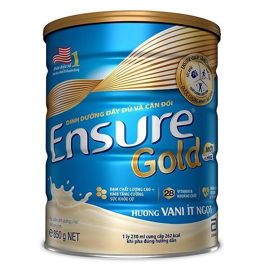 Sữa Abbott Ensure Gold (hương vani ít ngọt) hộp 850g