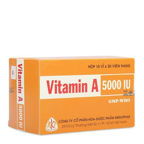 Vitamin A 5000IU (Mekophar) hộp 200 viên