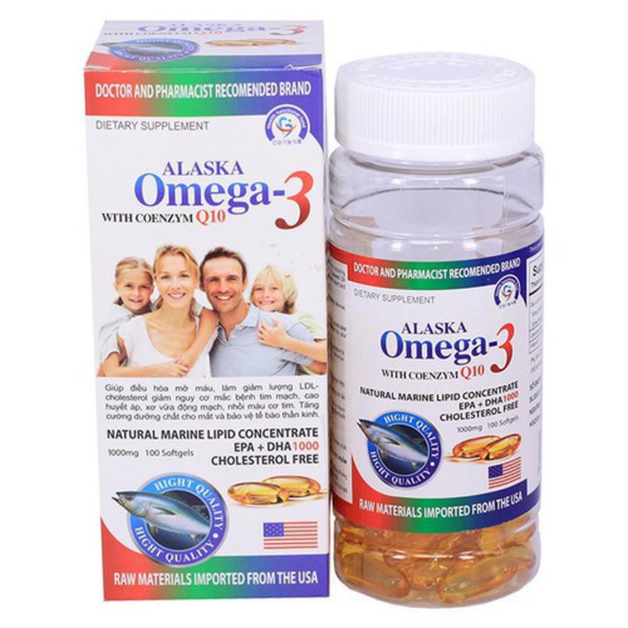 Thực phẩm bảo vệ sức khoẻ Alaska Omega-3 With Coenzim Q10 hộp 1 lọ 100 viên