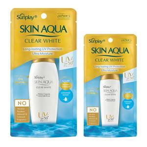 Sữa chống nắng dưỡng da trắng mịn Sunplay Skin Aqua Clear White SPF 50+ hộp 1 lọ 25g