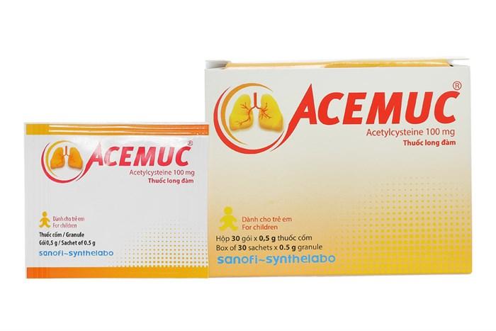 Thuốc long đàm, tiêu chất nhầy Acemuc 100 (dành cho trẻ em) hộp 30 gói x 0,5g