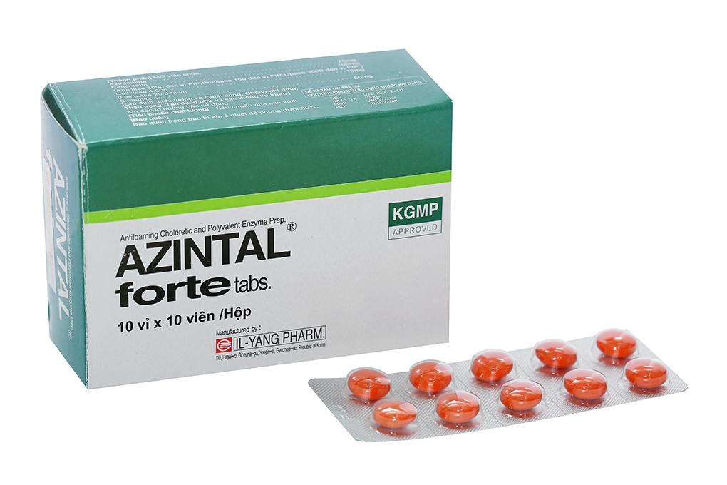 Thuốc trị đầy hơi, khó tiêu Azintal forte hộp 100 vỉ
