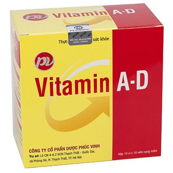 Thực phẩm bảo vệ sức khỏe Vitamin A-D Phúc Vinh hộp 10 vỉ x 10 viên