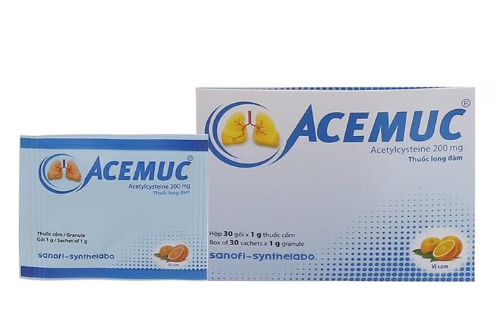 Thuốc long đờm Acemuc 200mg hộp 30 gói x 1g