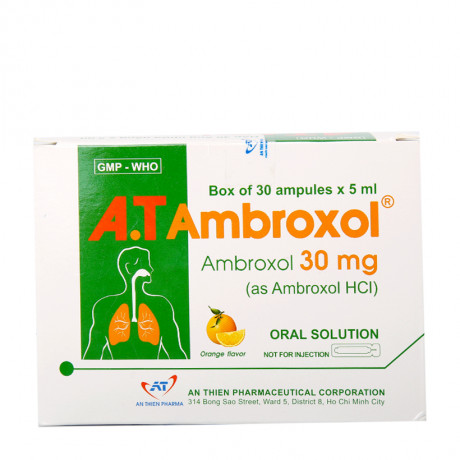 Thuốc ho, long đờm A.T Ambroxol 30Mg  hộp 30 ống x 5ml