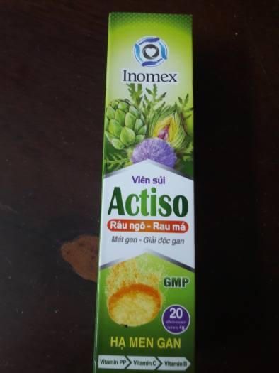 Viên sủi Actiso râu ngô rau má Inomex hộp 1 tuýp 20 viên