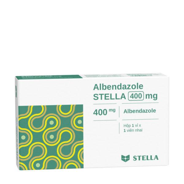 Thuốc tẩy giun, sán  Albendazol Stella 400mg hộp 1 viên