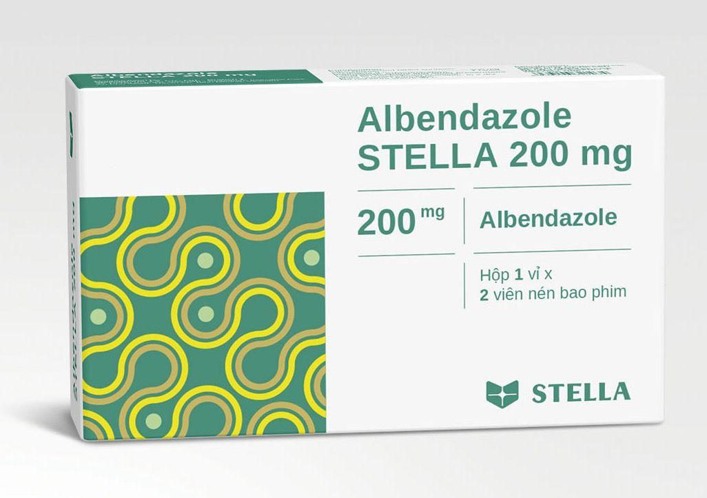 Thuốc trị giun sán Albendazol 200mg STELLA hộp 2 viên