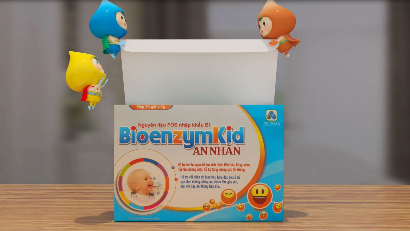 Hỗ trợ tiêu hóa BIOENZYMKID AN NHÂN hộp 30 gói x 3g