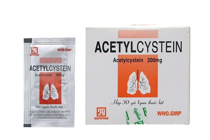 Thuốc long đờm, tiêu chất nhầy  Acetylcystein 200mg NADYPHAR hộp 30 gói