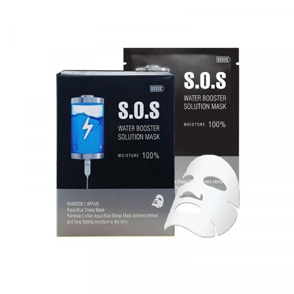 Mặt nạ cấp ẩm - trắng da - ngừa mụn - chống lão hóa Rainbow L'affair Aqua Blue Sheep Mask S.O.S Water Booster Solution Mask hộp 30 miếng