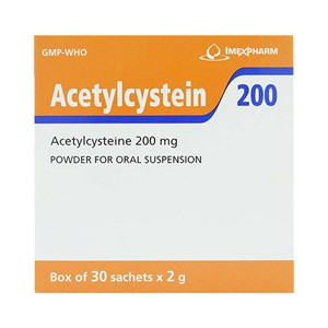 Thuốc long đờm, tiêu chất nhầy  Acetylcystein 200 IMEXPHARM hộp 30 gói