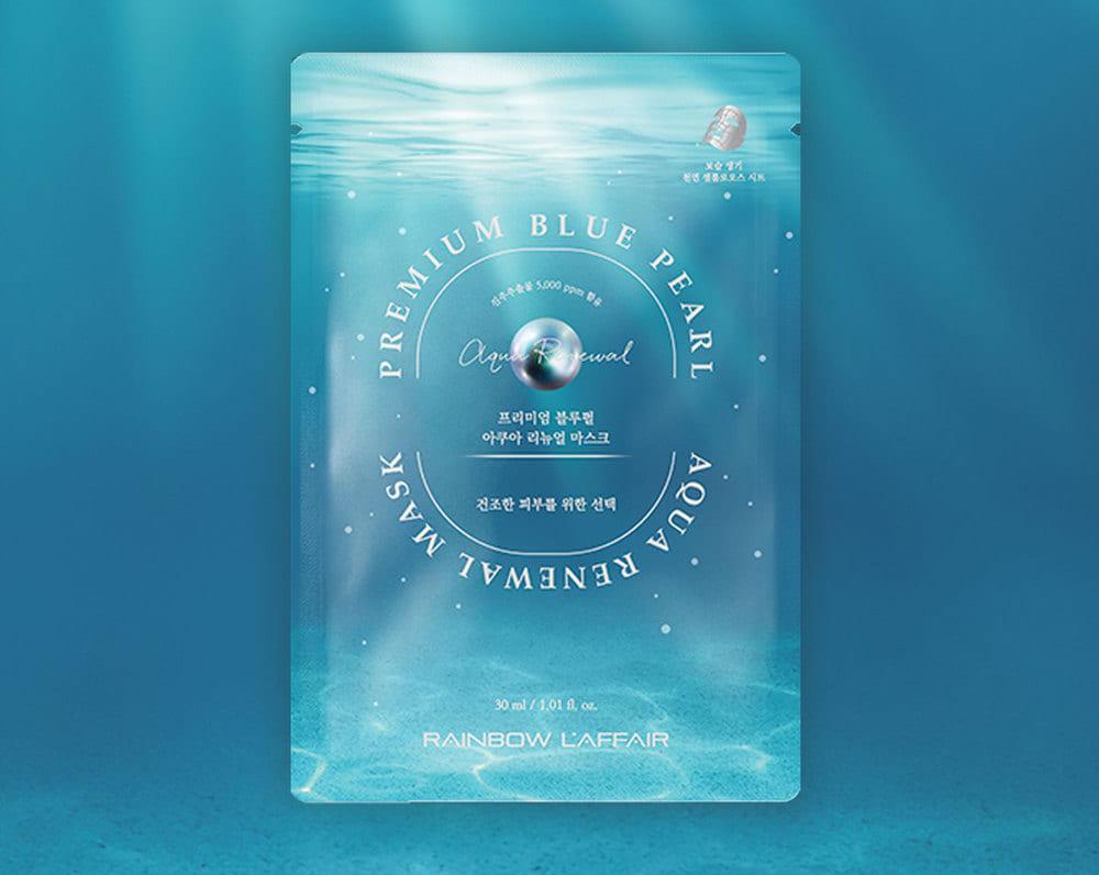 Mặt nạ dưỡng ẩm, làm trắng, ngăn ngừa lão hóa Rainbow L'affair  Blue Pearl Aqua Renewal Mask hộp 10 miếng