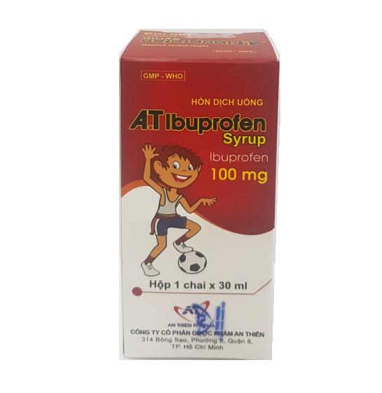 Siro giảm đau, hạ sốt A.T Ibuprofen hộp 1 lọ 30ml