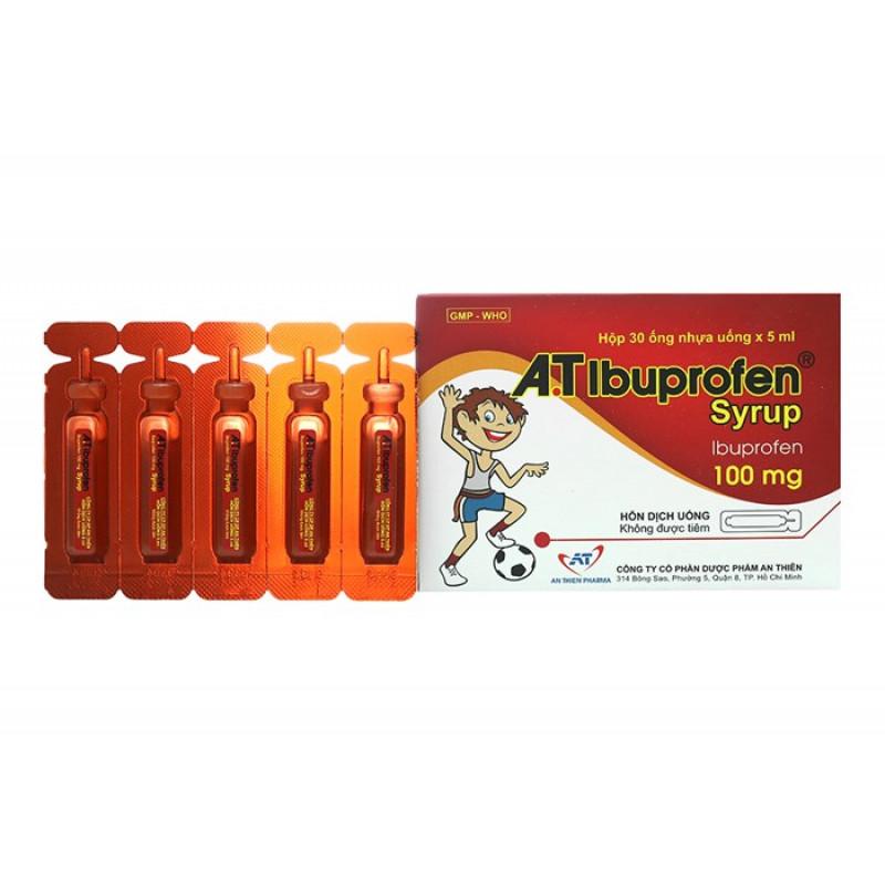 Siro giảm đau, hạ sốt A.T Ibuprofen hộp 30 ống x 5ml