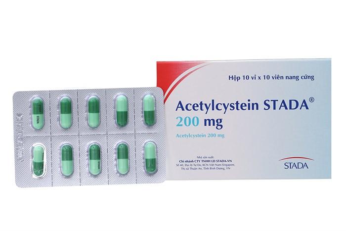 Thuốc long đờm, tiêu chất nhầy  Acetylcystein Stada 200mg  hộp 100 viên