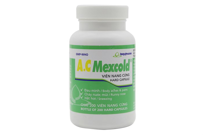 Thuốc trị cảm cúm A.C Mexcold hộp 200 viên