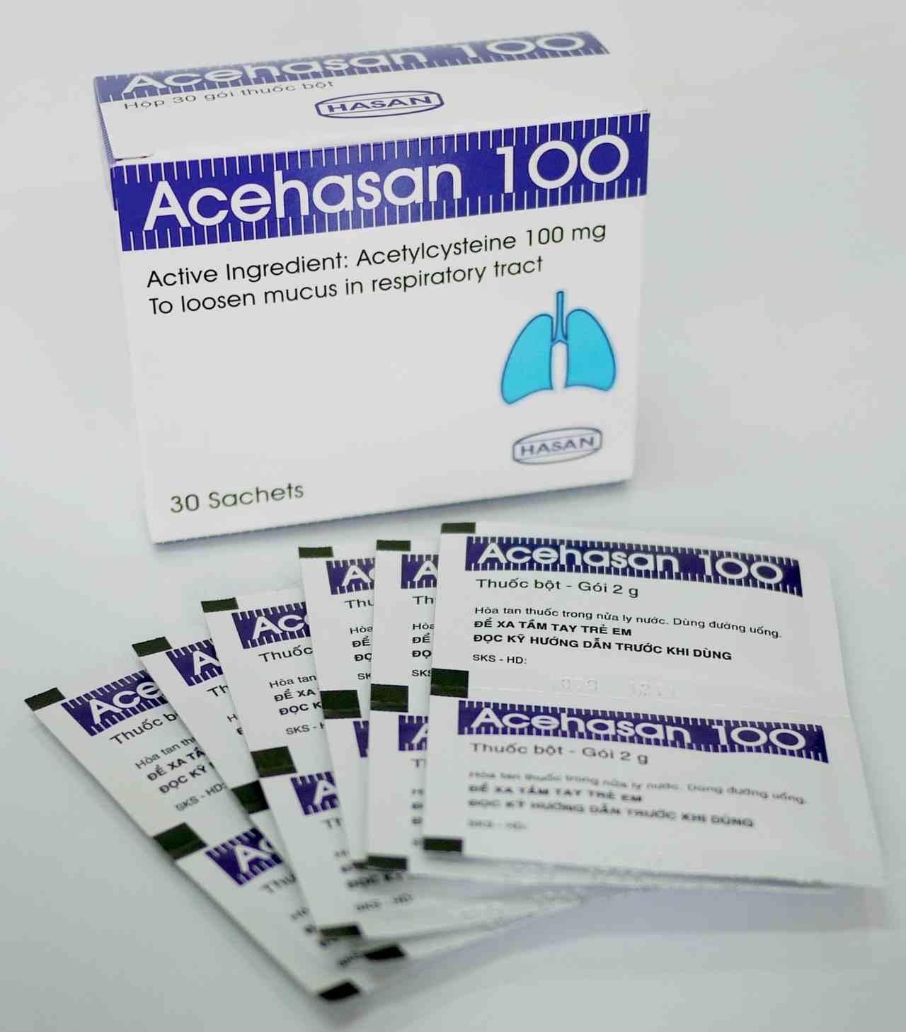 Thuốc bột trị ho, long đờm Acehasan 100 hộp 30 gói x 2g