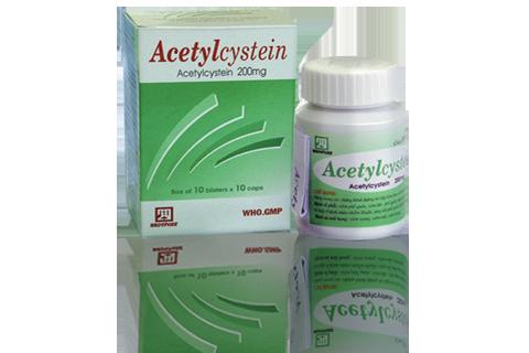 Thuốc đường hô hấp Acetylcystein 200mg NADYPHAR lọ 80 viên