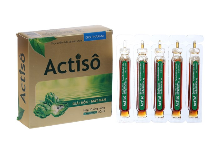Dung dịch uống giải độc, mát gan Actiso DHG hộp 10 ống